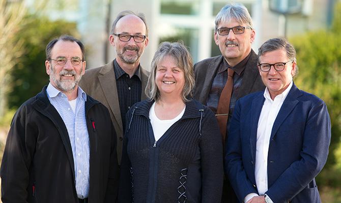 CSV - Vorstand (l. n. r.): Günter Schöfer, Martin Wunderlich, Karola Schäfer, Klaus Käfer, Jürgen Zoubek